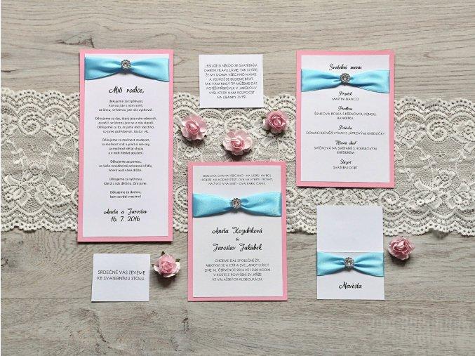 Svatební oznámení BLUE PINK